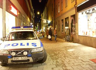 2010 Stockholm bombings - Scene of the second explosion the day after the attack, seen from Drottninggatan