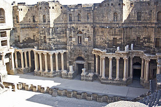 Skene (theatre) - Scaenae frons at the Roman theatre of Bosra, Syria