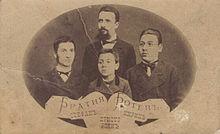 Христо Ботев с братята си Стефан, Кирил и Боян (от ляво надясно), 1876 г.