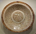Bowl with nobleman entertained by musician, Iran, Kashan, Seljuk period, early 13th century, earthenware with overglaze luster painting - Cincinnati Art Museum - DSC04083.JPG