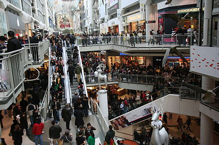 Boxing Day crowds shopping at the Toronto Eaton Centre in Canada, 2007 Boxing Day at the Toronto Eaton Centre.jpg