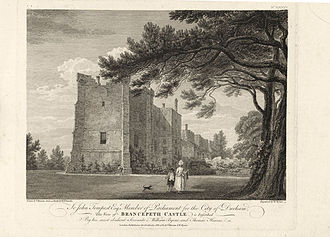 Brancepeth Castle - Brancepeth Castle in 1782, before its 19th-century expansion