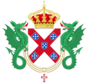 Crowned coat of arms of the house of Braganza supported by 2 dragons