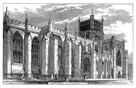 Bristol Cathedral in an 1873 engraving, still incomplete Bristol 1873 - Bristol Cathedral.png