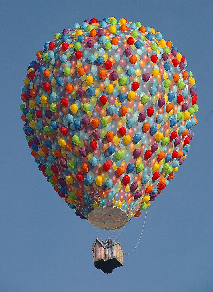 Photo of a hot air balloon resembling the house for Pixar's Up