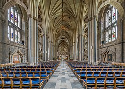 The nave of Bristol Cathedral.