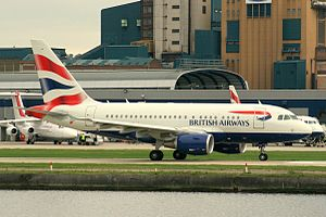 British Airways (G-EUNA) Airbus A318 at London City Airport.jpg