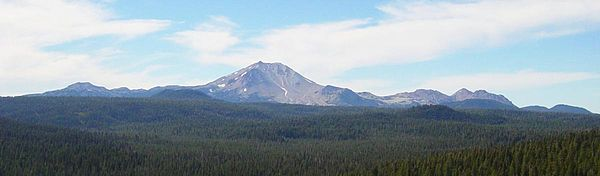 Brokeoff Mountain, Lassen Peak, and Chaos Crags. The area of Lassen Peak that was lost during the 1914-15 volcanic event is clearly visible in this picture.
