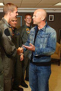 Podczas spotkania z amerykańskimi żołnierzami