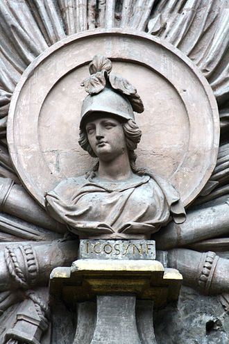 Bellona (goddess) - A bust of Bellona by Jean Cosyn, a 1697 victory celebration over a Brussels doorway