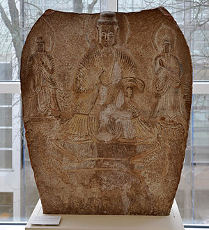 Buddhist Trinity, limestone, China, North Wei ...