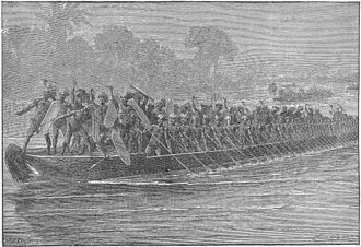 Military history of Uganda - Depiction of war canoes used by the Kingdom of Buganda, ca. 1875.