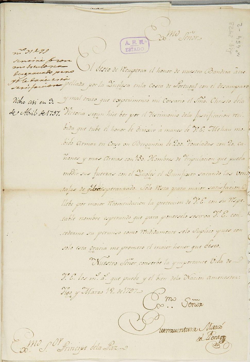 Buenaventura Marcó del Pont a Godoy, Vigo, 18 de marzo de 1797