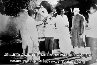Ongole cattle - This Ongole bull reared by Sri Polavarapu Hanumaiah (third from right) won national award 1961 - 62 . Pt. Nehru (second from right) the then prime minister of India.