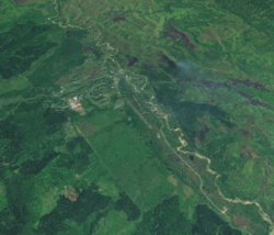 A satellite image of Bulolo