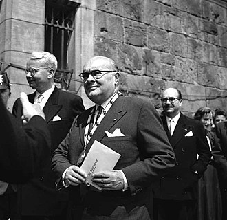 Paul-Henri Spaak - Spaak photographed receiving the Charlemagne Prize in 1957