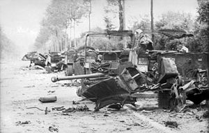 Operation Perch - A 6 pdr anti-tank gun and Loyd Carriers knocked out by Michael Wittmann