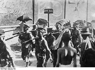National Revolutionary Army - NRA troops against Sun Chuanfang's private army preparing to defend Shanghai.