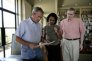 Stephen Hadley - Hadley (right) discussing the 2006 Israel–Lebanon crisis with Bush and Rice