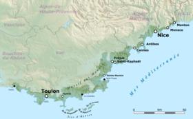 Carte de la Côte d'Azur.