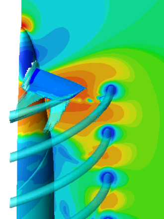 Isosurface - Isosurface of vorticity trailed from a propeller blade. Note that this is an isosurface plotted with a colormapped slice.