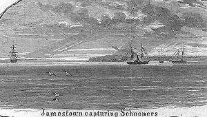 CSS Jamestown - CSS Jamestown capturing schooners