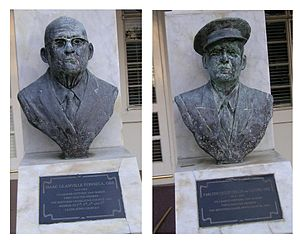 British Virgin Islands general election, 1950 - The busts of Isaac Fonseca and Carlton de Castro outside of the Legislative Council building.