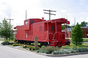 An extended vision caboose on static display i...