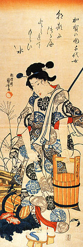 A scroll showing a woman standing beside a well