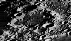 Cajori (crater) - Oblique Lunar Orbiter 2 view, facing south