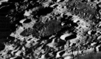 Cajori (crater) - Oblique Lunar Orbiter 2 view, facing south