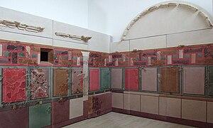 Roman wall painting (200 BC–AD 79) - Roman cubiculum, dated 50 BC, from Augusta Bilbilis, Insula I, Domus 2, Calatayud, Spain (then part of the Roman province of Hispania Tarraconensis)