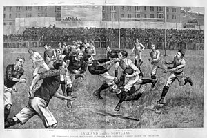 1892 Home Nations Championship - Illustration of the clash between England and Scotland for the Calcutta Cup, 1892