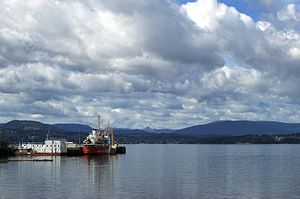 Canadian Coast Guard vessel moored in North Saanich, Vancouver Island, British Columbia.jpg