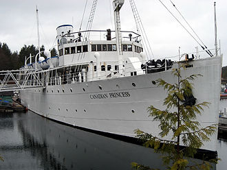 Ucluelet - The Canadian Princess was moored and part of a hotel in Ucluelet, and was a staple of the harbour until it was removed in 2016.