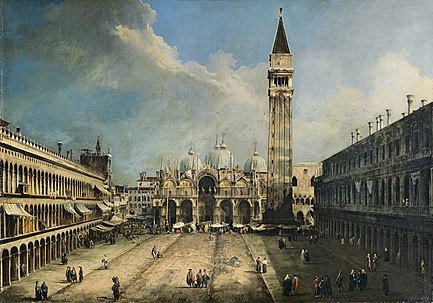The Piazza San Marco in Venice by Canaletto.