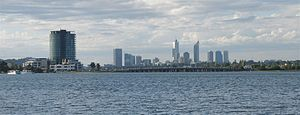 Mount Pleasant, Western Australia - Image: Canning Bridge with Perth CBD in background, April 2006
