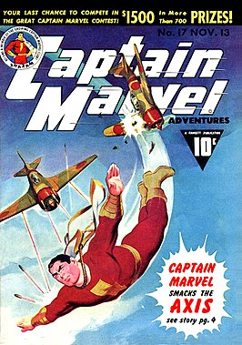 Captain Marvel op cover van Captain Marvel Adventures #17, 1942.