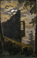 Moonlight Behind a Castle Ruin with Alcove
