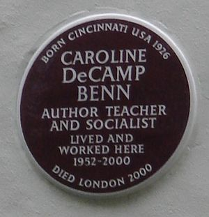 Caroline Benn - Brown plaque, Holland Park Avenue, London