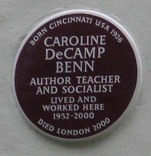 Caroline Benn - Brown plaque, Holland Park Avenue, London