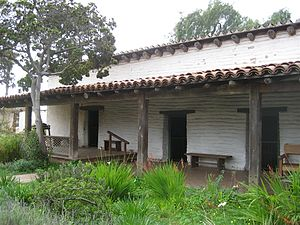 Casa de Estudillo - One wing of the house, with rooms connected by an exterior corredor.