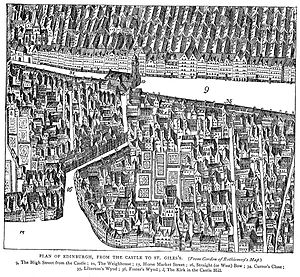 Porteous Riots - Drawing of the West Bow which connected Castle Hill to the Grassmarket