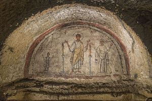 Catacombs of San Gennaro - Fresco with the portrait of San Gennaro