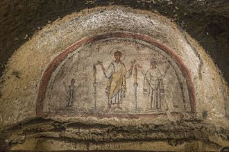 Catacombs of San Gennaro - Fresco with the portrait of San Gennaro