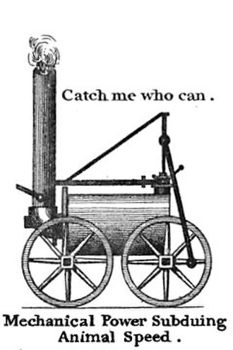 "Catch Me Who Can - Drawing of the locomotive Catch Me Who Can, from a card or admission ticket to Trevithick's ""Steam Circus"", summer 1808"