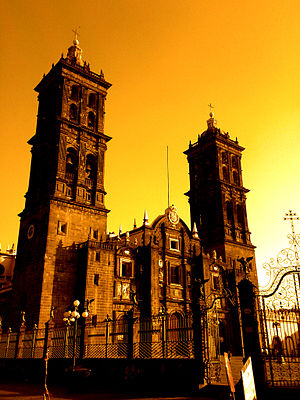 View of the cathedral of Puebla.
