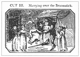 """Jumping the broom - """"Marrying over the Broomstick"""", 1822  illustration of a """"broomstick-wedding"""" by James Catnach."""