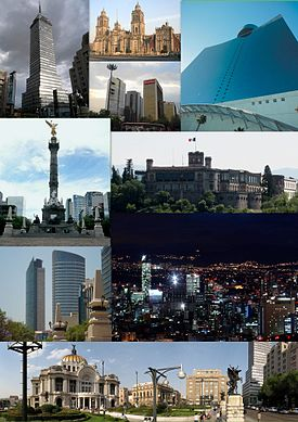From above Torre Latinoamericana, Mexico City Metropolitan Cathedral, Anillo Periférico, World Trade Center Mexico City, Angel of Independence, Chapultepec Castle, St. Regis Hotel Tower and Torre Mayor, Skyline of Paseo de la Reforma and Palacio de Bellas Artes.