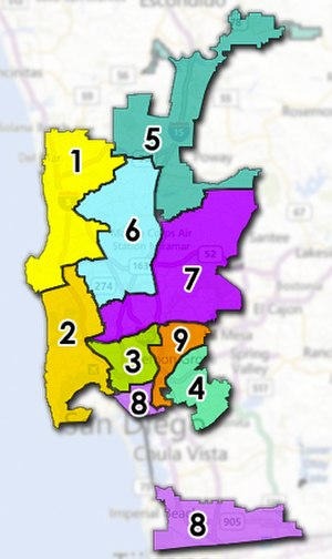 San Diego City Council - Current Council Districts